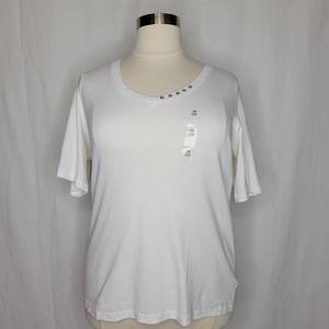 Karen Scott Plus Size Cotton V-Neck Top White